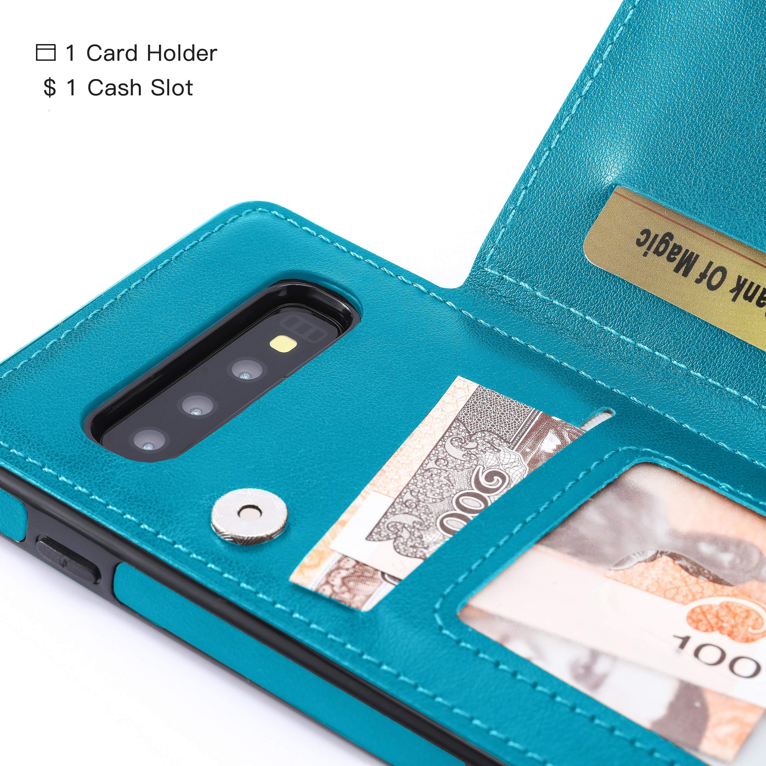 Bogumil Galaxy S10e Wallet Case, PU Leather Samsung S10e Case with Credit Card Holders Double Magnetic Buttons Flip Shockproof Protective Cover Compatible Samsung Galaxy S10e (Blue)