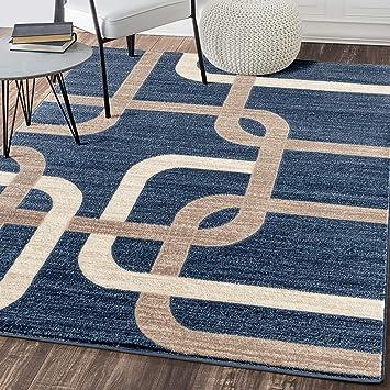 Interlocking Modern Blue Area Rug Furniture Decor