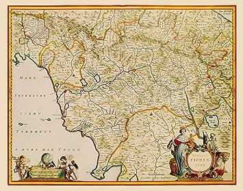 Amazon.com: Old Italy Map - Tuscany Region - Blaeu 1635 - 23 x 29.28 ...