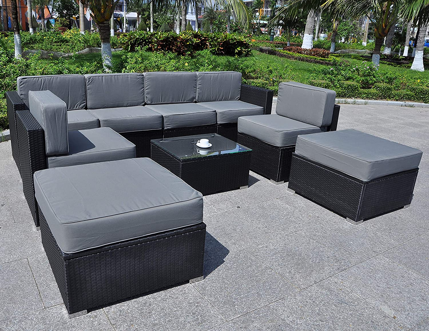 Mcombo Patio Furniture Sectional Set Outdoor Wicker Sofa Lawn Rattan Conversation Chair with 6 Inch Cushions and Tea Table Gray 6082-9PC