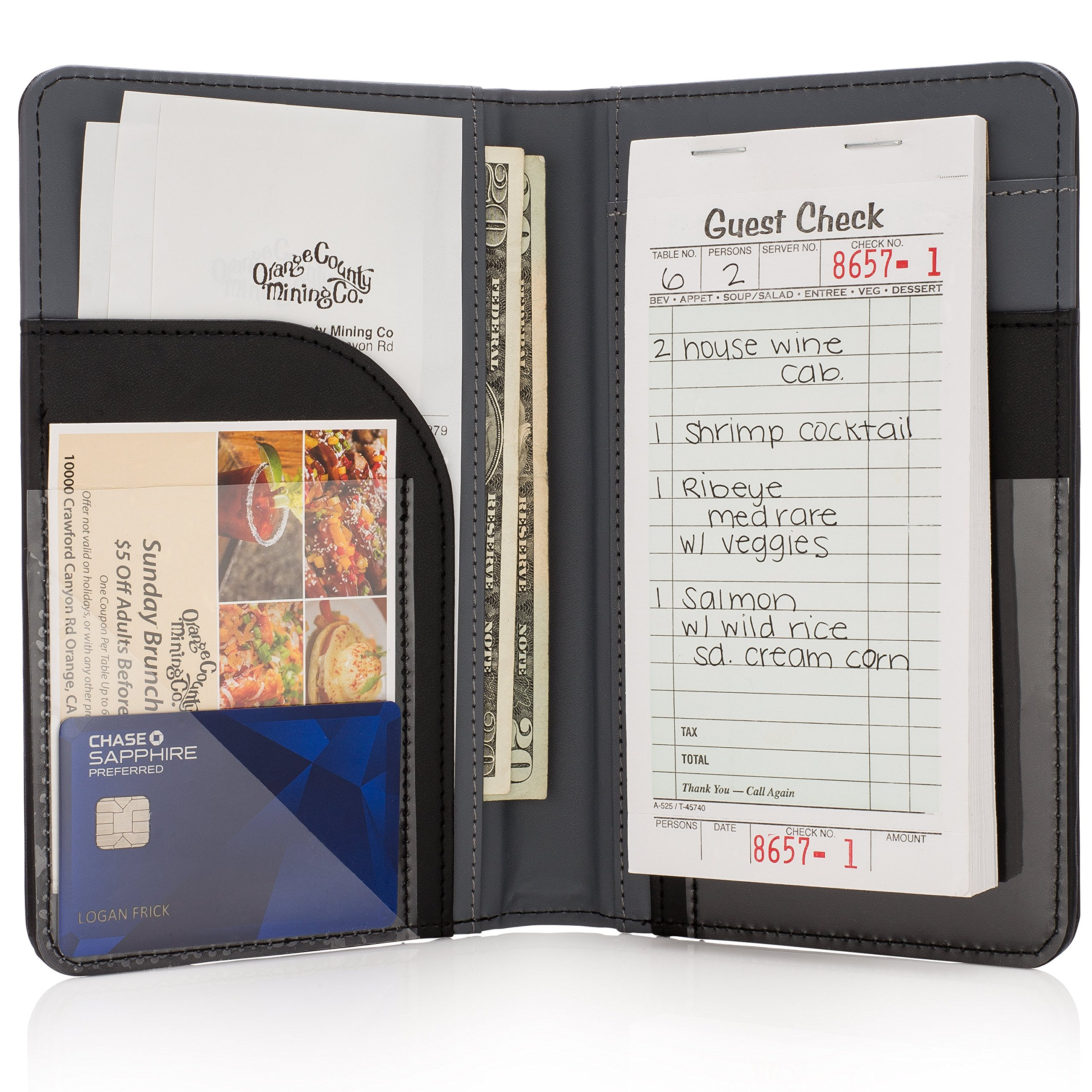 Premium Server Book & Waiter Book Organizer - Strongest & Thickest - Holds Guest Checks & Server Pads for Waiters