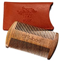 BFWood Beard & Moustache Pocket Comb - Sandalwood Comb with Leather Case