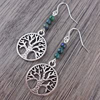 Tree of Life earrings with natural green & blue Chrysocolla gemstones