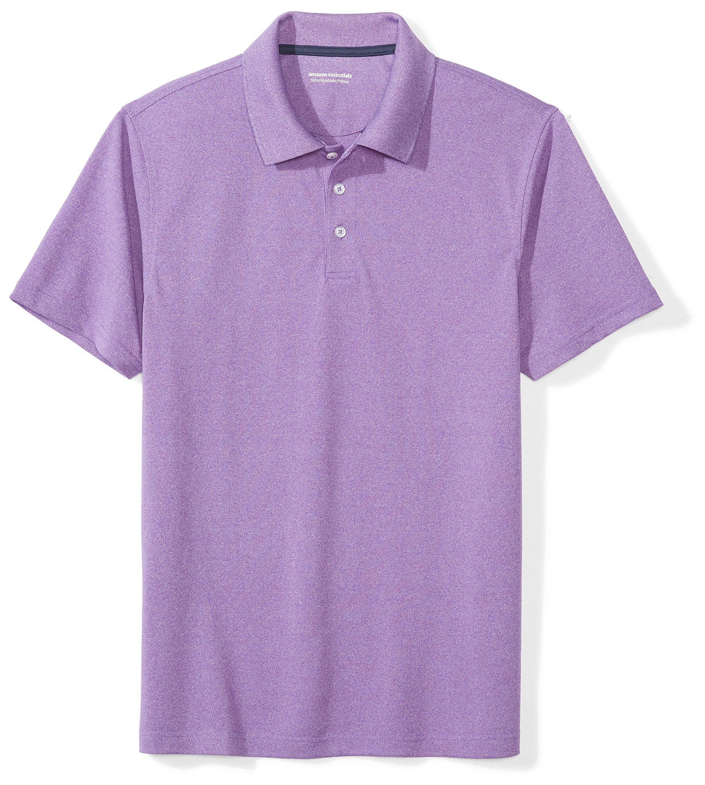 Amazon Essentials Men's Slim-Fit Quick-Dry Golf Polo Shirt, Purple Heather, Medium by Amazon Essentials