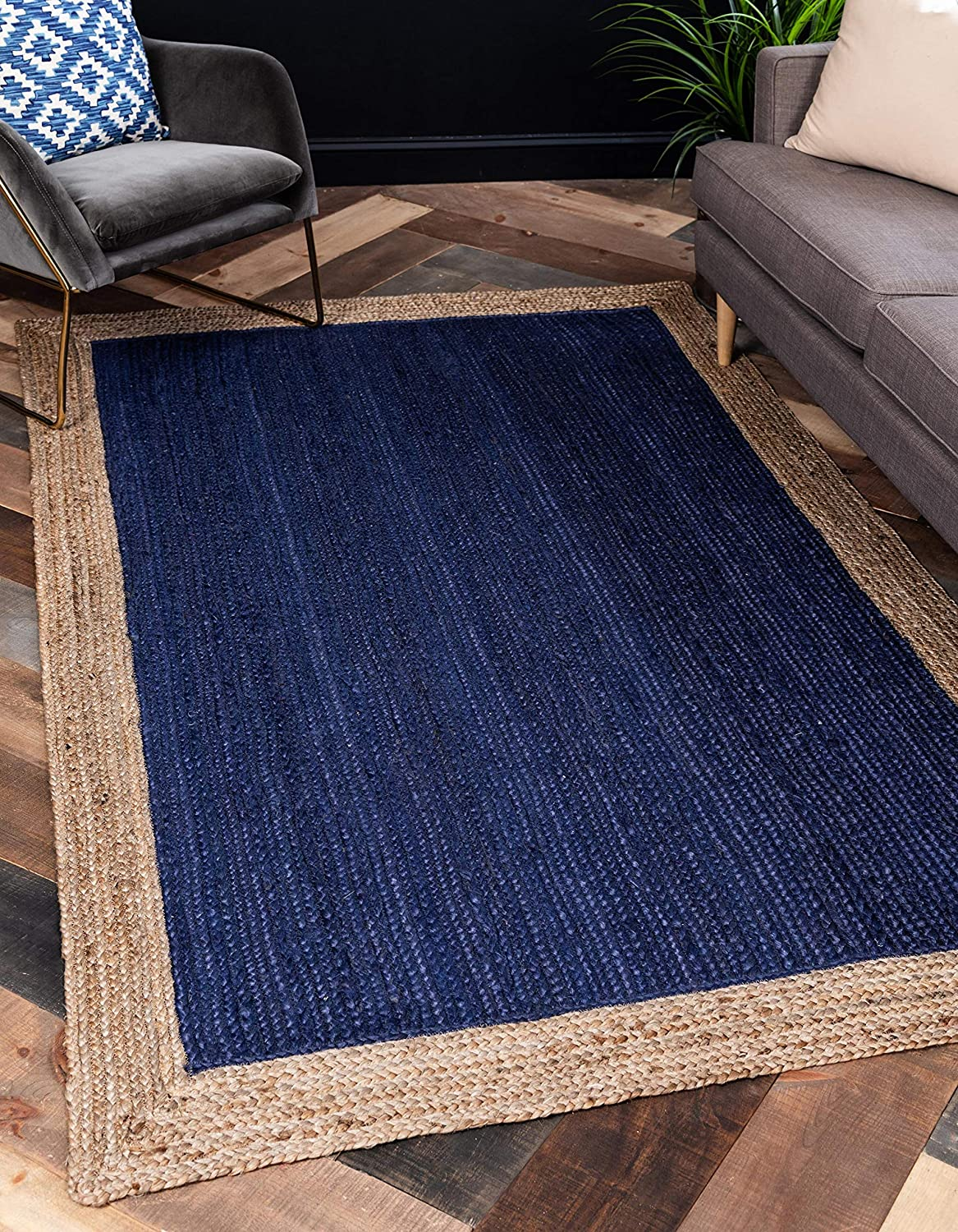 Unique Loom Braided Jute Collection Hand Woven Casual with Navy Border Coastal Natural Area Rug (2' x 3')
