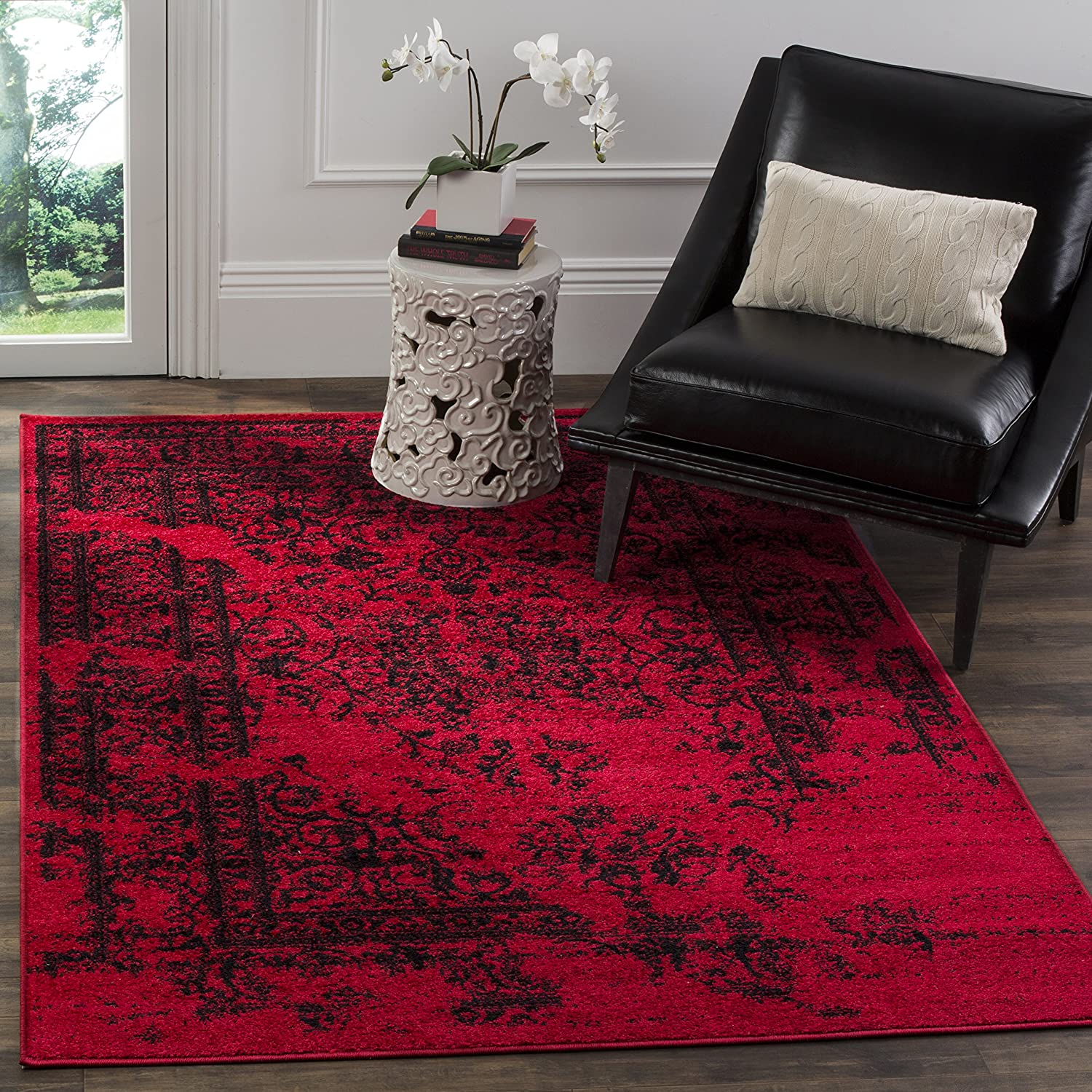 Amazon com safavieh adirondack collection adr101f red and black oriental vintage distressed area rug 51 x 76 kitchen dining