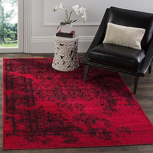 Safavieh Adirondack Collection ADR101F Oriental Vintage Distressed Area Rug, 4 x 6 , Red Black