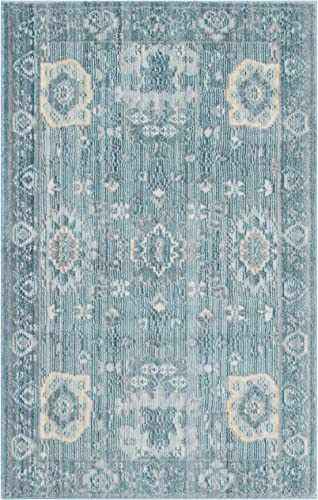Safavieh Valencia Collection VAL110B Alpine and Multi Vintage Distressed Silky Polyester Area Rug 2 x 3