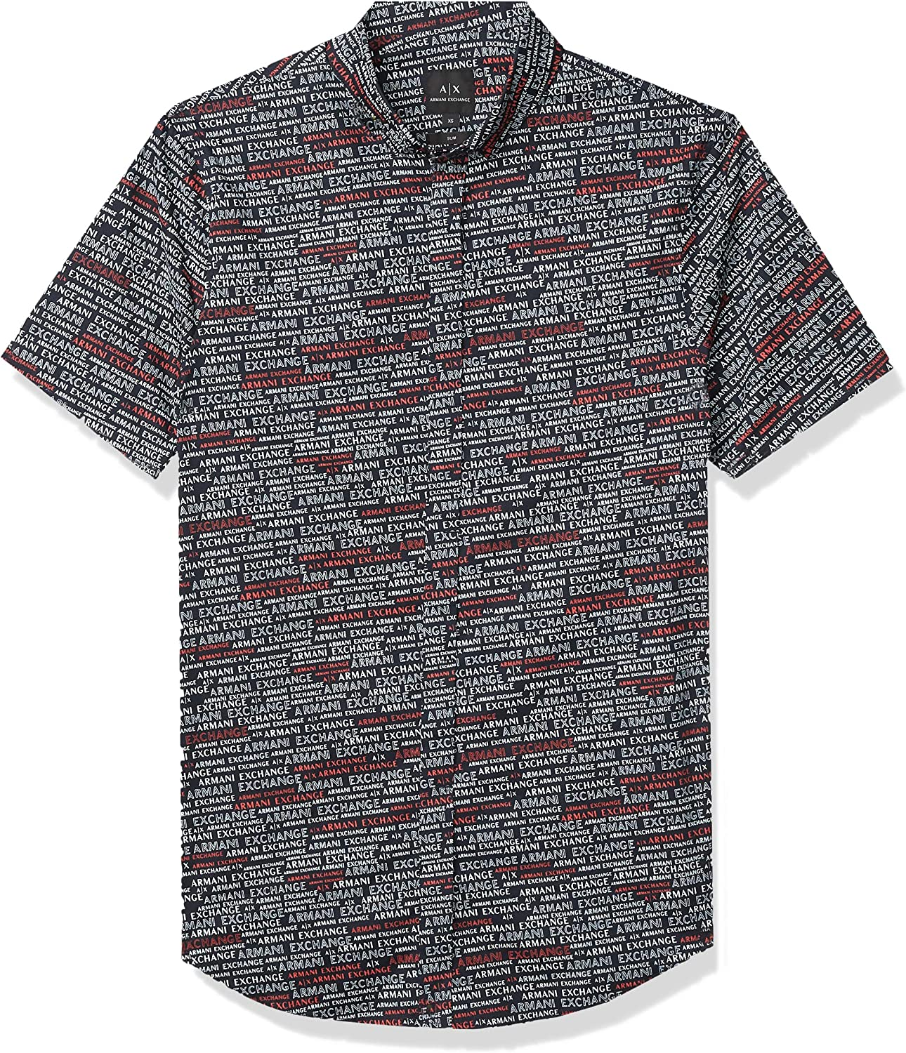 AX Armani Exchange Men's Slim Fit Printed Stretch Cotton Short Sleeve Woven