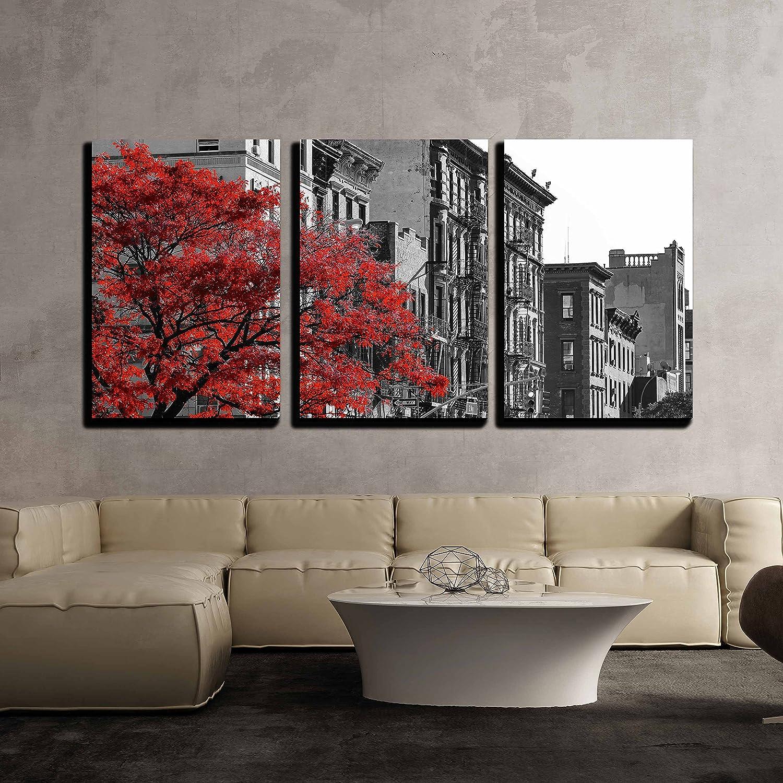 Red Tree NYC Street Scene - Canvas Art Wall Art - 24