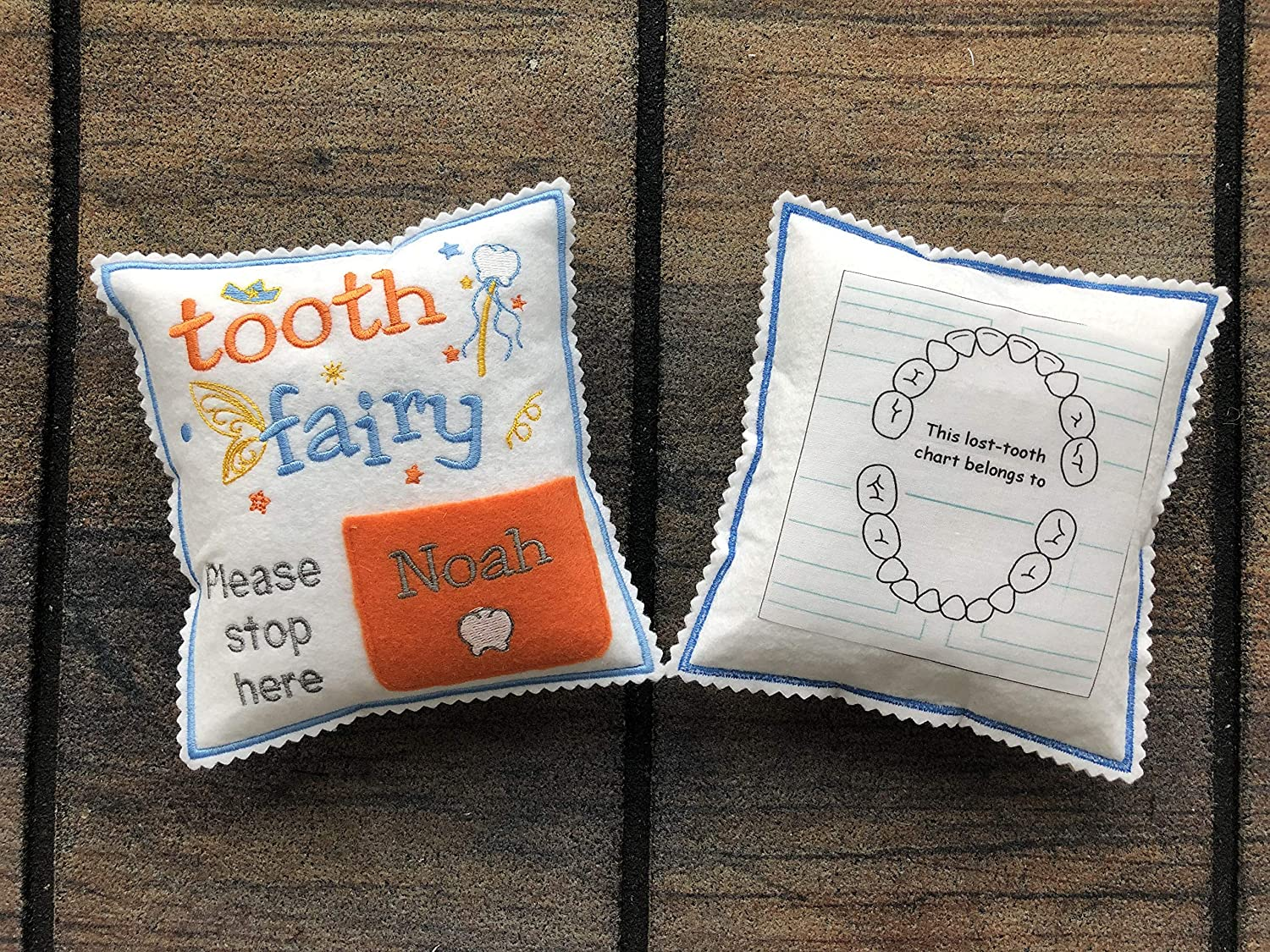 Tooth Fairy Pillow Personalized Children Plush Toy with Tooth Exchange Pocket