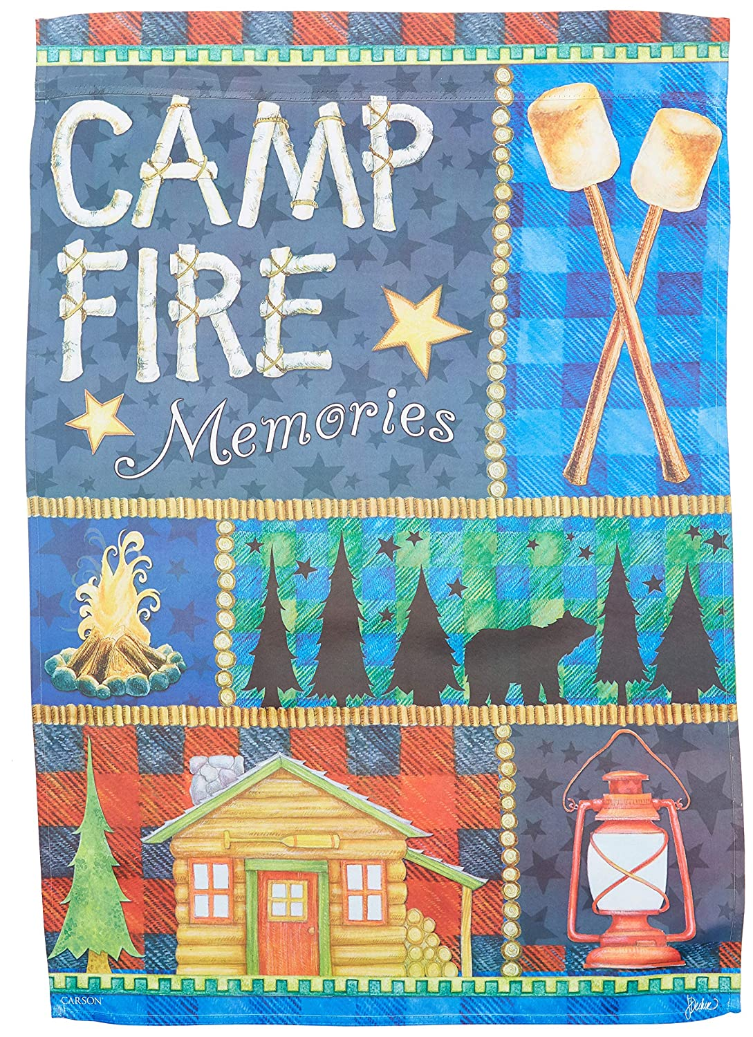Carson Home Accents Trends Classic Large Flag, Campfire Memories