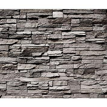 Fabulous decomonkey Fototapete selbstklebend Steinwand grau Steine 392x280 AR89