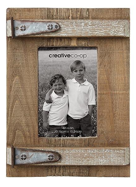 Amazon Com Creative Co Op Wood Photo Frame With Decorative Metal