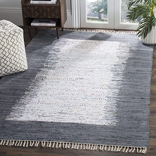 Safavieh Montauk Collection MTK711G Handmade Flatweave Ivory and Grey Cotton Area Rug 8 x 10