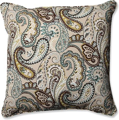 Pillow Perfect Outdoor Indoor Tamara Paisley Quartz Floor Pillow, 25 x 25 , Blue