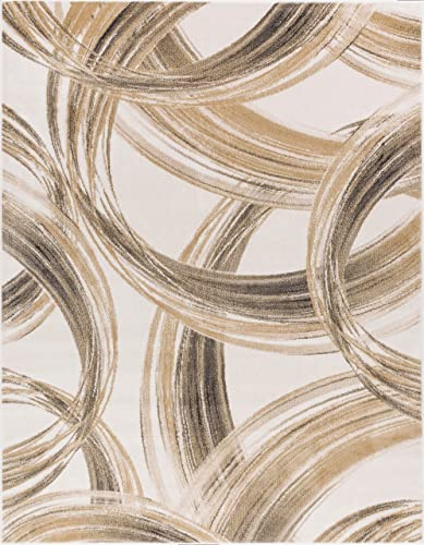 Spirited Sentiment Cream Beige Stripes Area Rug 8 x 11 7 10 x 10 6 Modern Abstract Geometric Brushstrokes Waves