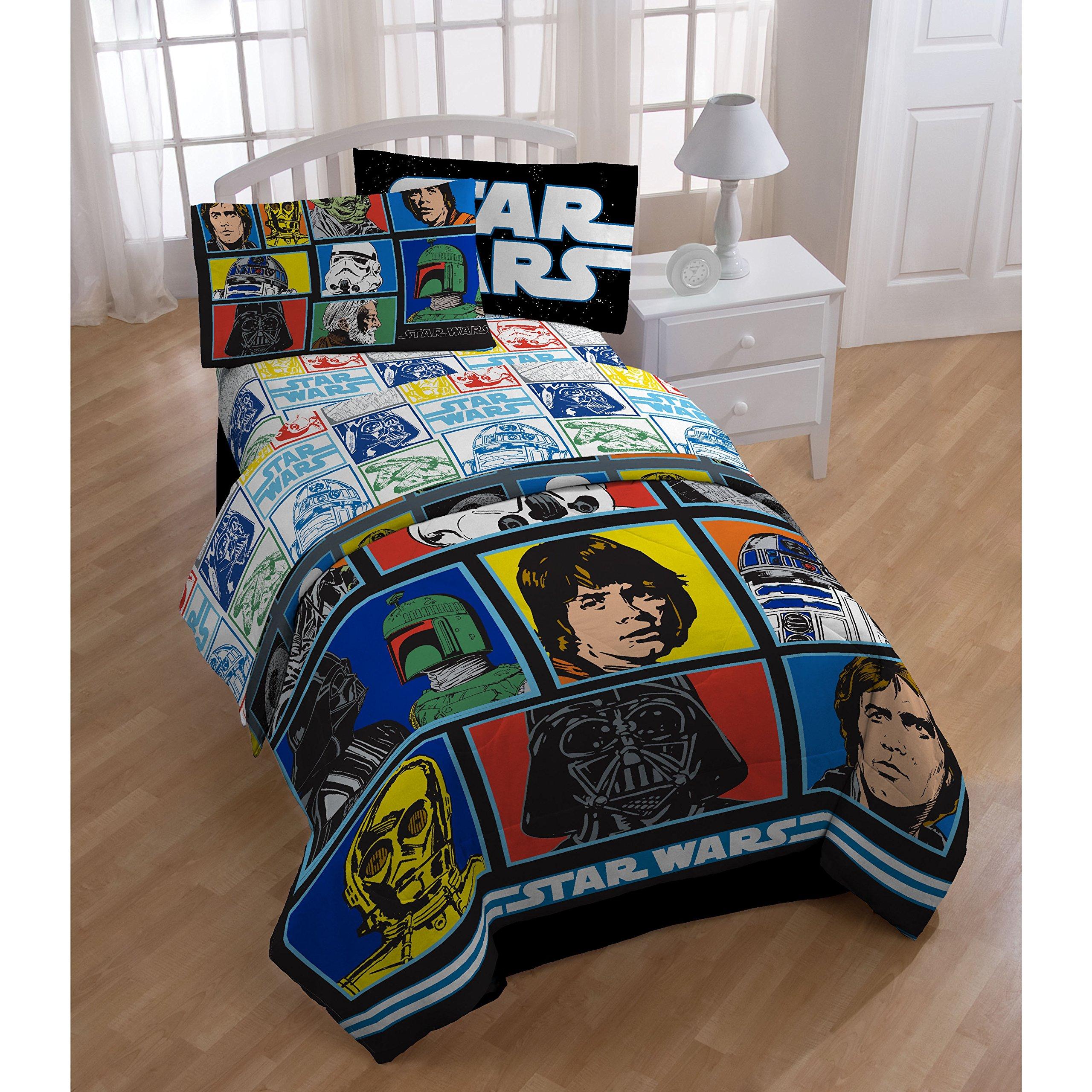 5 Piece Kids Blue Star Wars Theme Comforter Twin Set, Starwars Rogue 1 Imperial Trooper Bedding, Light Saber Death Star Darth Vader Luke Skywalker Yoda Movie Series Character Plush, Polyester