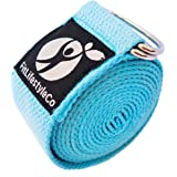 FitLifestyleCo Yoga Strap - Best For Stretching - 6 Colors - Instructional Video - Durable Cotton With Metal D-Ring