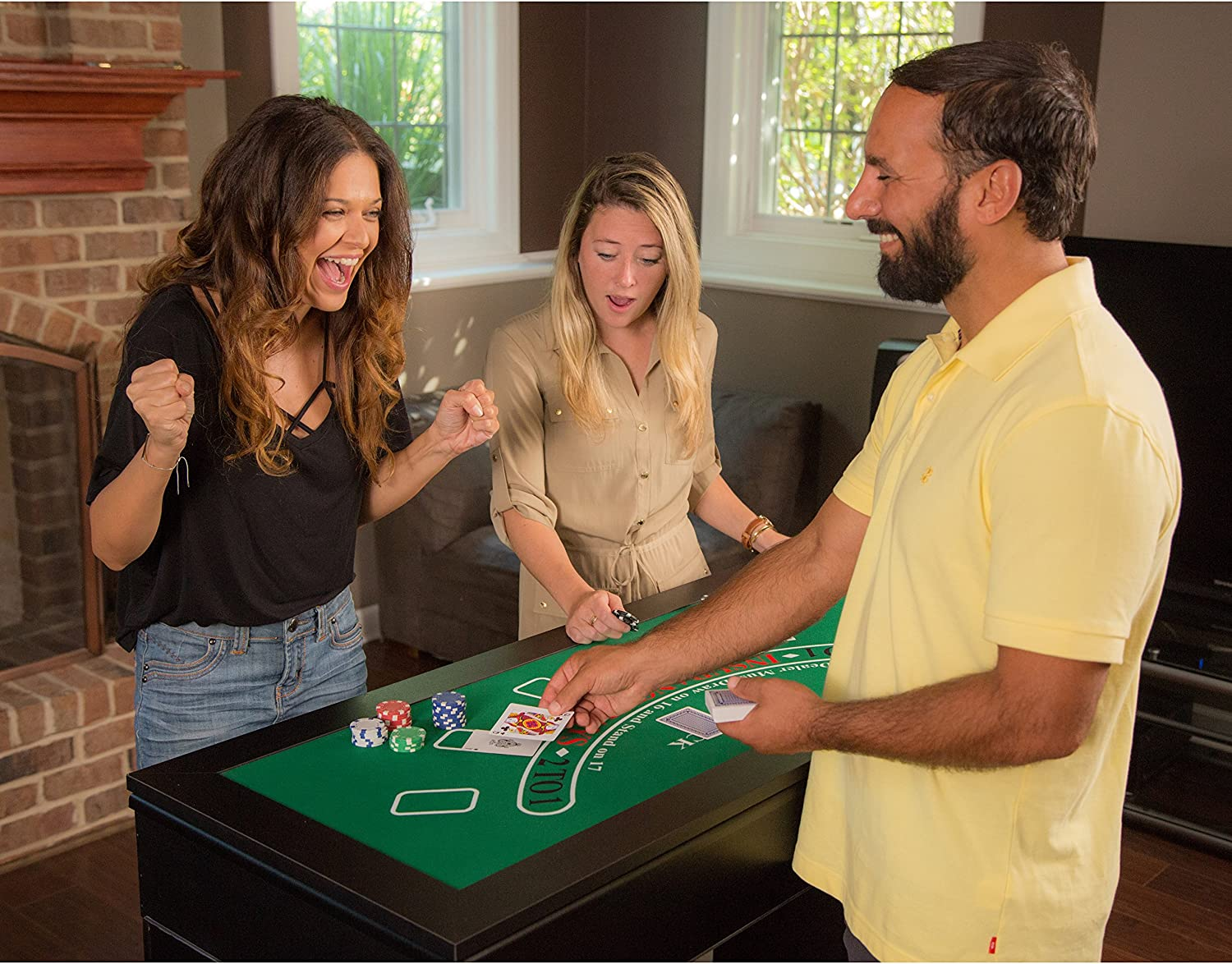 Casino Game Table 4-in-1 Roulette Blackjack Craps with Full Set of Accessories