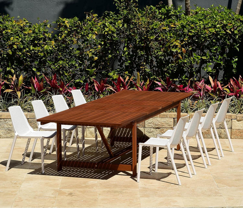 Amazonia Double Extendable Rectangular Miami Patio Dining Set, 9Piece White