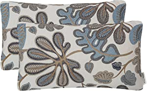 Mika Home Set of 2 Jacquard Tropical Leaf Pattern Oblong Throw Pillow Covers Accent Pillowcase 12X20 Inches,Blue Cream