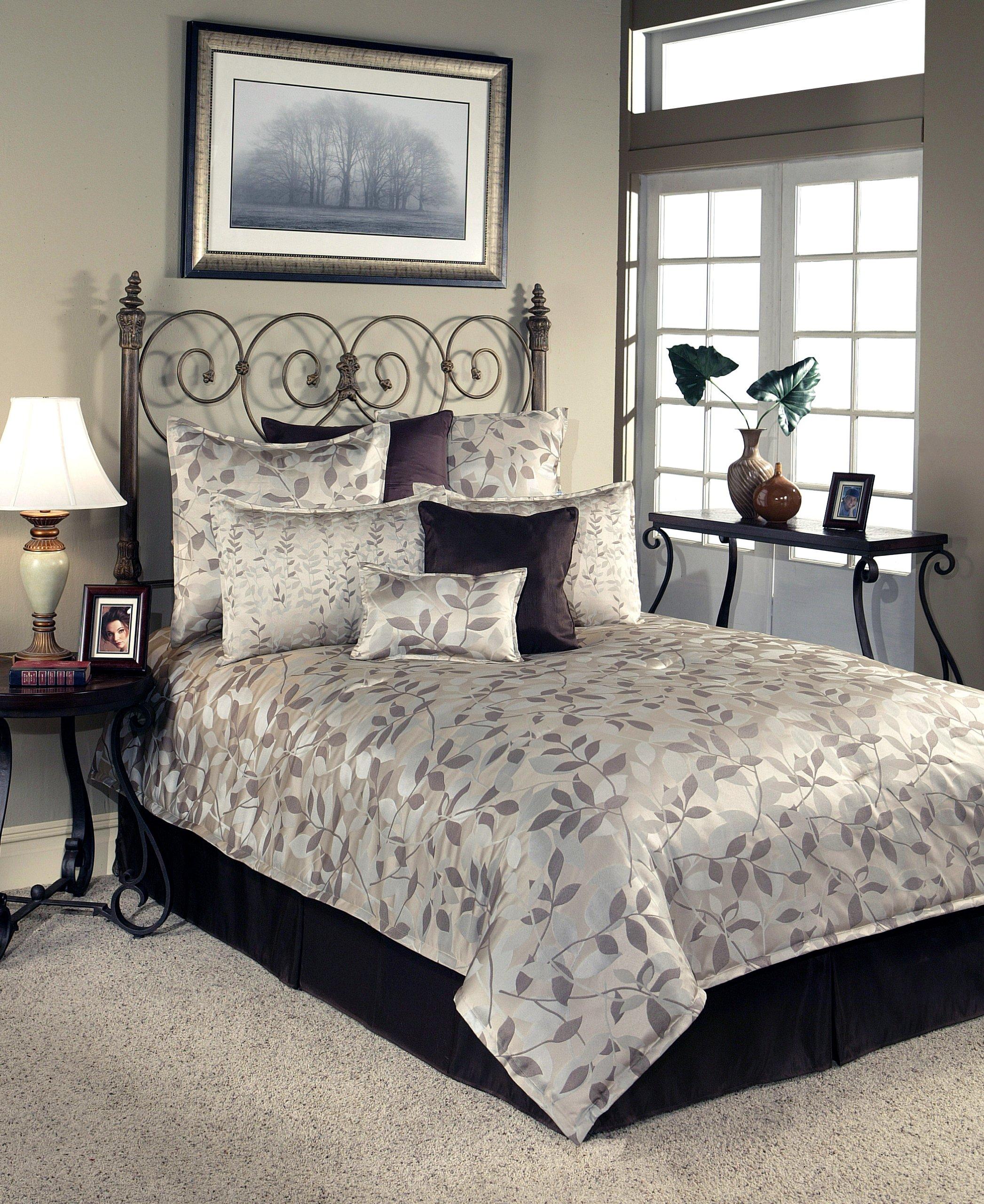 Sherry Kline Harmony Comforter Set, Queen,Taupe, 8 Piece