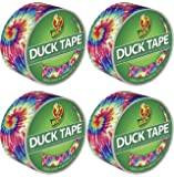 "Duck Brand 283268 Color Printed Duct Tape, Love Tie Dye, 1.88"" x 10 Yards, Single Roll-4 Pack"