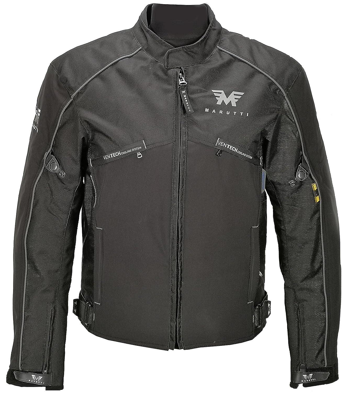 Herren Motorrad Jacke MaxDura Kurz Textil Motorradjacke wasserdicht winddicht mit Protektoren in Schwarz Grau L MARUTTI NF-2121