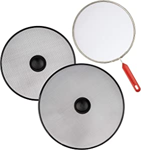 "Cooktop Splash Guard For Frying Pan - Set Of 3: 8.2"", 10"", 11.4"" - Kitchen Grease Splatter Screen Guards - Cooking Oil Catcher Shield"