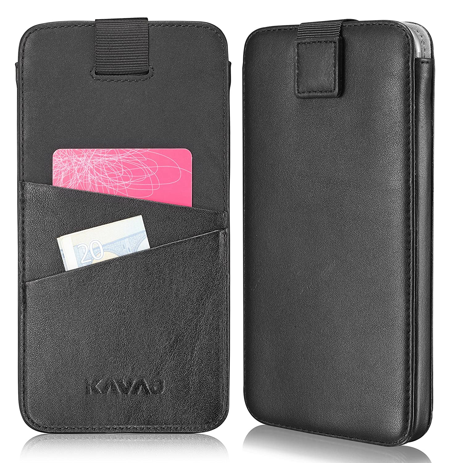 KAVAJ Funda iPhone 8/7 / 6S / 6 Plus case piel Miami negra piel auténtica con compartimento para tarjetas original i-Phone-Plus Apple slim fina carcasa ...