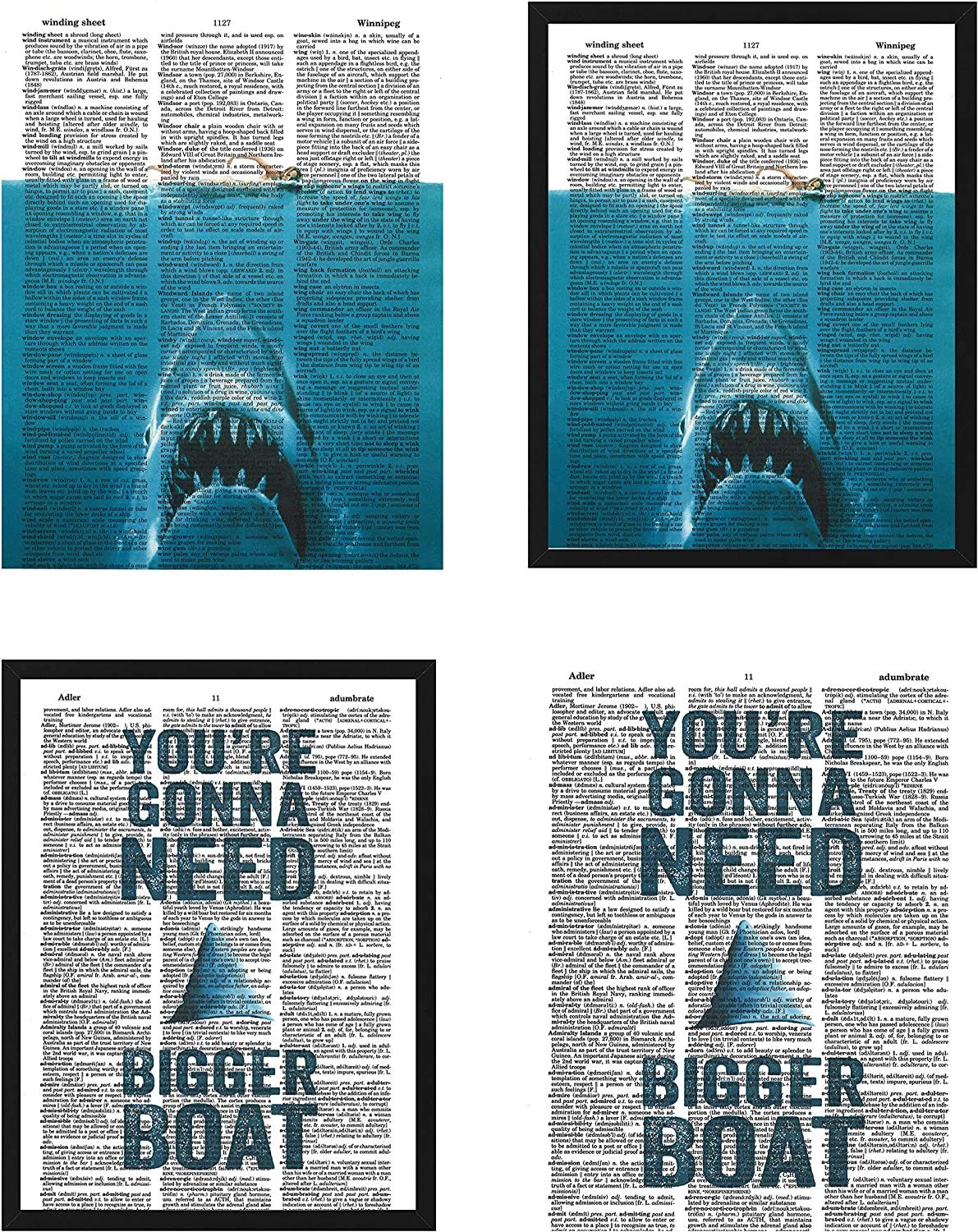 Jaws movie poster Great White Shark iconic movie quote set of (2) dictionary art prints wall decor 8x10