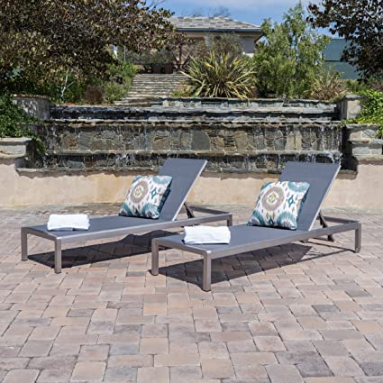 Nice Crested Bay Patio Furniture Outdoor Mesh Chaise Lounge (Dark Grey) (Qty Of 2