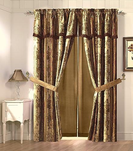 Cozy Beddings Vintage Stripe 2-Panel Floral Design Jacquard Window Curtain Drape Set, Gold Burgundy