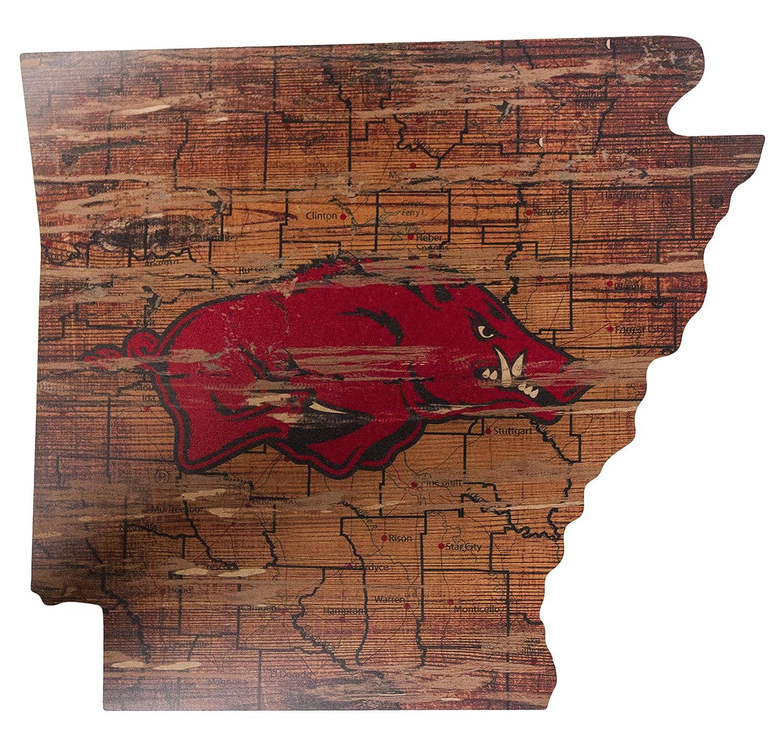 NCAA Arkansas Razorbacks 21 x 23 State Cutout with Logo Wood Sign