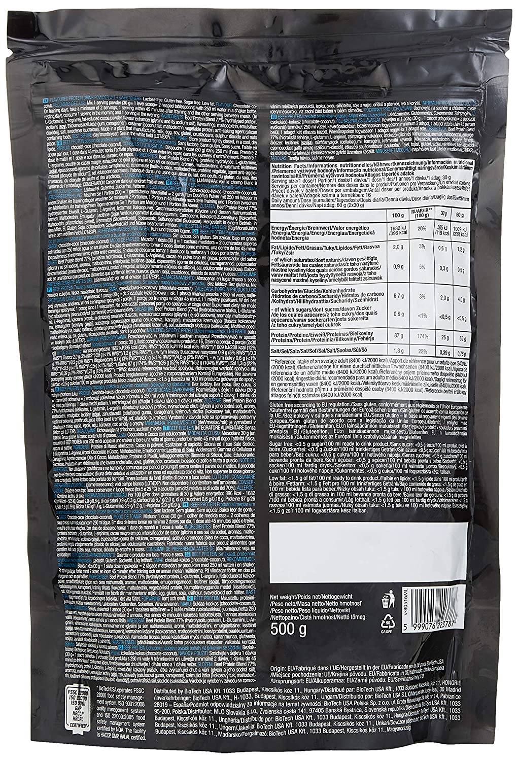 Biotech Beef Protein 500G 6 g Vanilla Cinnamon Whey Protein Concentrate