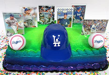 Los Angeles DODGERS Baseball Team Themed Birthday Cake Topper Set Featuring Dodgers Player Cards And
