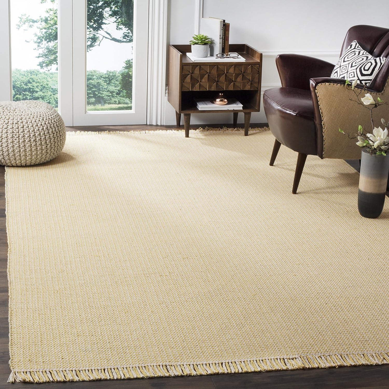 Amazon com safavieh montauk collection mtk340e handmade flatweave ivory and yellow cotton area rug 8 x 10 kitchen dining