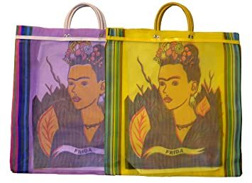 Varios Frida Tote bolsa de mercado reciclado 18 SQ (México Folk Art reciclado botellas de