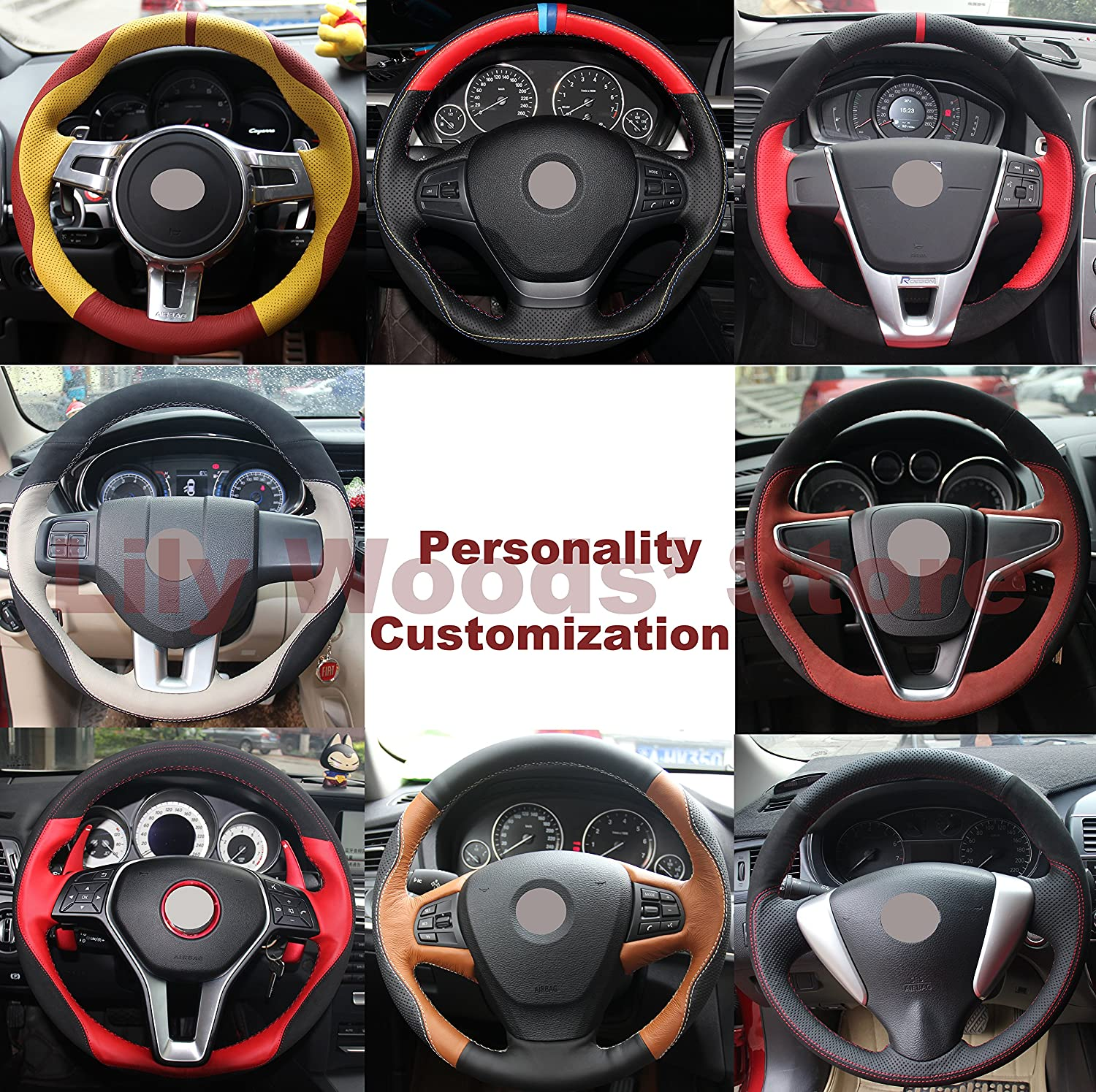 Loncky Black Suede Steering Wheel Cover for BMW Gran Turismo 328GT 330GT 335GT 340GT 535GT 550GT //BMW Gran Coupe 428 430 435 440 640 650 M6 Gran Coupe lfy-0017