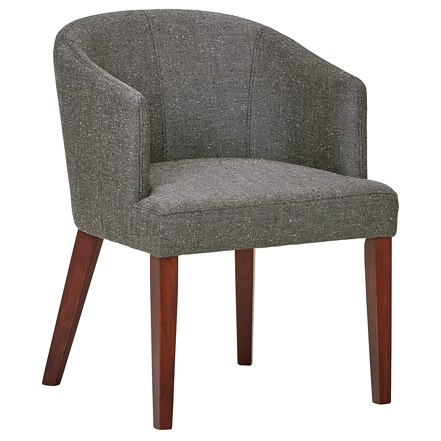 Rivet Alfred Mid-Century Modern Wide Curved Back Accent Kitchen Dining Room Chair, 25.2 W, Ash Grey