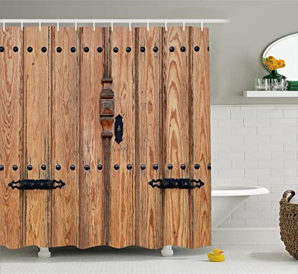 Amazon.com: Ambesonne Rustic Shower Curtain, Wooden Door with Iron ...