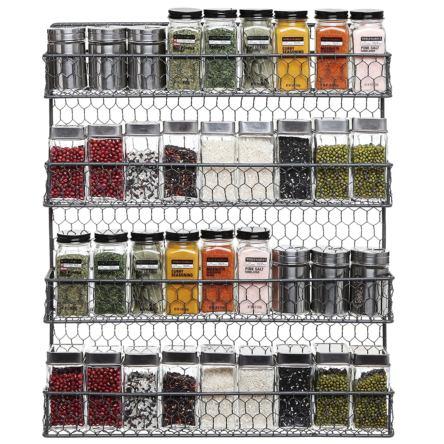 Amazon.com: 4 Tier Gray Country Rustic Chicken Wire Pantry, Cabinet ...