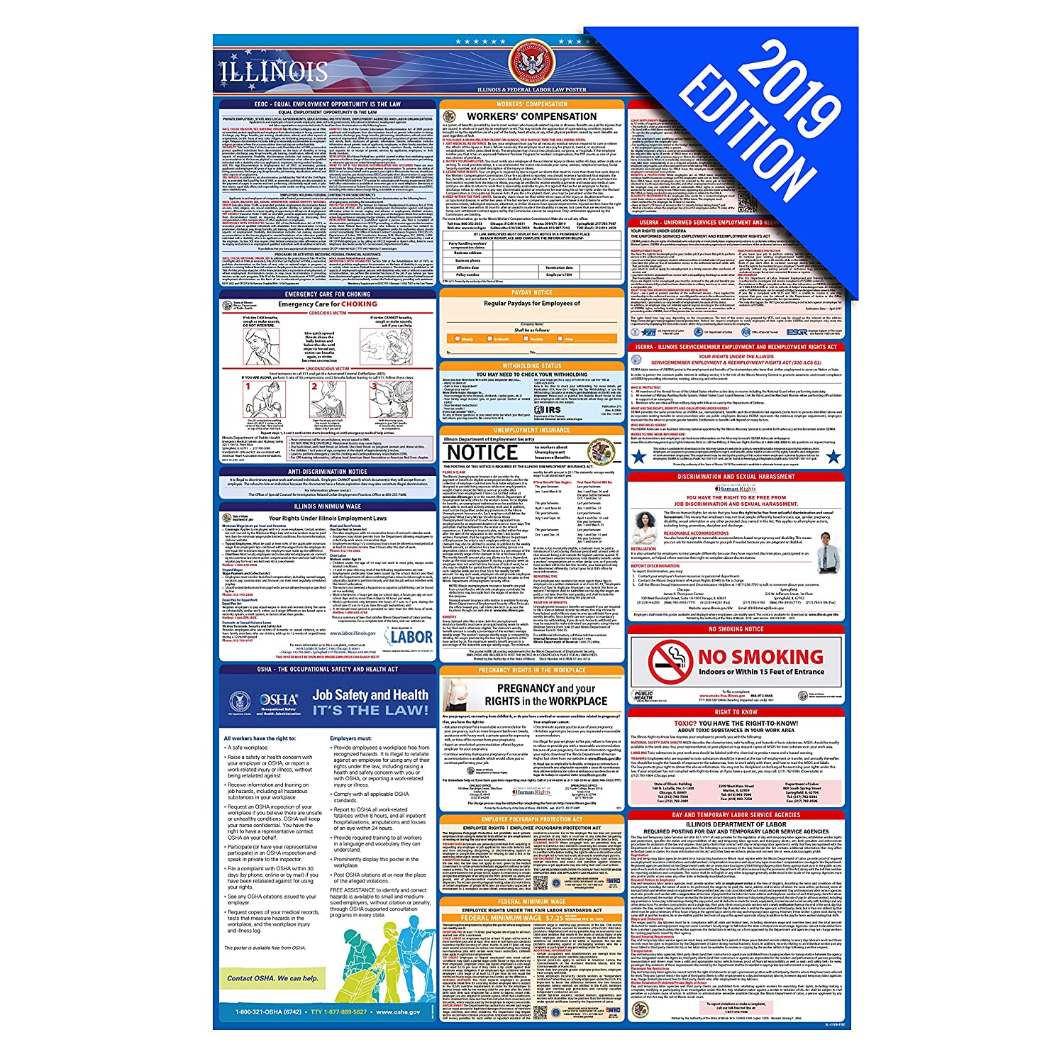 2019 Illinois Labor Law Poster – State, Federal, OSHA Compliant – Single  Laminated Poster