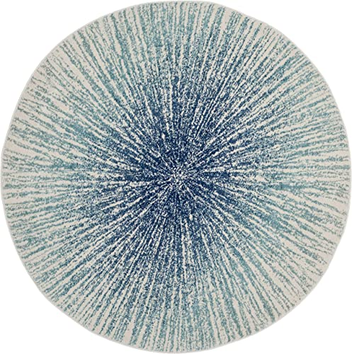 Safavieh Evoke Collection EVK228A Contemporary Burst Royal Blue and Ivory Round Area Rug 3 Diameter