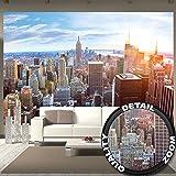 Papier peint de New York à l'horizon décoration de peinture murale ducoucher de soleil vue panoramique de penthouse de Manhattan États-Unis d'Amérique | photo mur deco chez GREAT ART (336 x 238 cm)