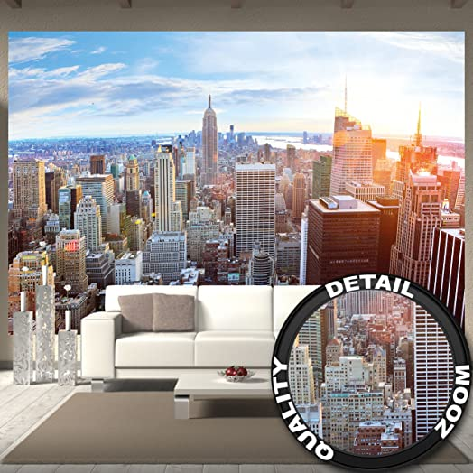 Wall Mural New York Skyline Mural Decoration Sunset Manhattan Penthouse  Panorama View USA Decoration America Big Part 63
