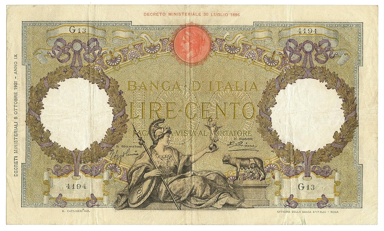 Cartamoneta  100 Lire CAPRANESI Aquila Romana Testina Fascio 05 10 1931 Prima Data BB BB+