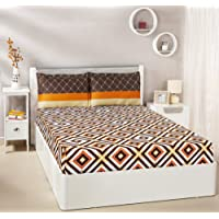 Solimo 144 TC 100% Cotton Double Bedsheet with 2 Complimentary Pillow Covers