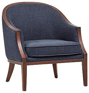 "Stone & Beam Ashbury Modern Exposed Wood Accent Chair, 29""W, Navy"